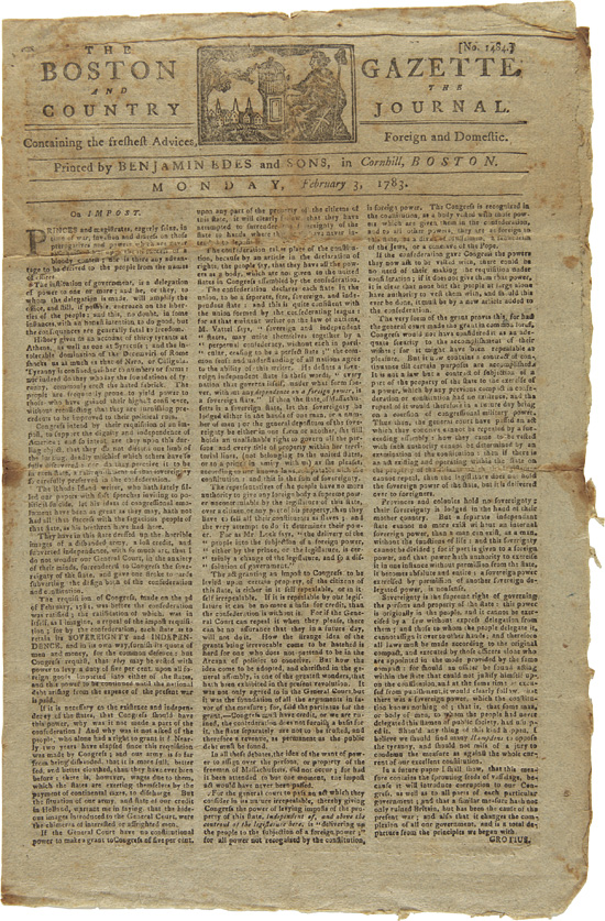 THE BOSTON GAZETTE AND THE COUNTRY JOURNAL. No. 1484. American Newspaper, American Revolution.
