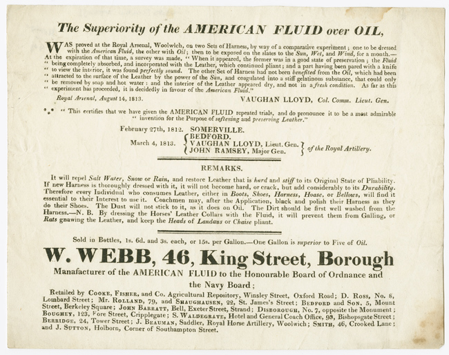[PRINTED TRADE ADVERTISEMENT TESTIFYING TO THE SUPERIORITY OF AMERICAN FLUID OVER REGULAR OIL]. Leather Dressing, Manufactures.