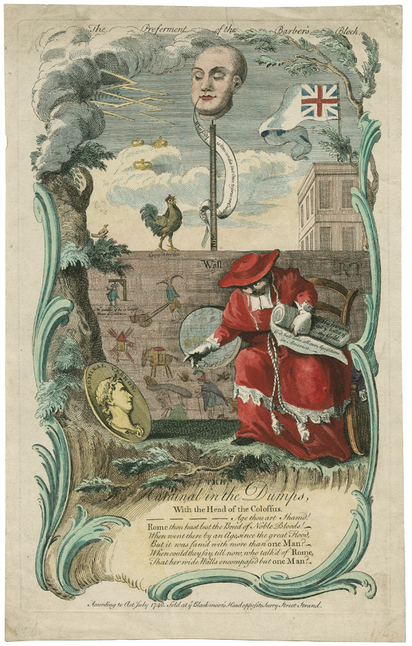 THE PREFERMENT OF THE BARBER'S BLOCK. THE CARDINAL IN THE DUMPS, WITH THE HEAD OF THE COLOSSUS [caption title]. British Political Satire, War of Jenkins' Ear.