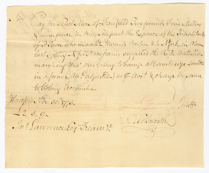[AUTOGRAPH DOCUMENT, SIGNED BY OLIVER ELLSWORTH AND THOMAS SEYMOUR, AUTHORIZING PAYMENT TO THE FAIRFIELD MILITIA DURING THE FIRST MONTHS OF THE AMERICAN REVOLUTION]. Oliver Ellsworth.