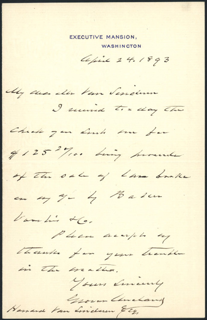 [AUTOGRAPH LETTER, SIGNED, FROM GROVER CLEVELAND TO HOWARD VAN SINDEREN, REGARDING THE SALE OF SOME OF CLEVELAND'S LAW BOOKS]. Grover Cleveland.