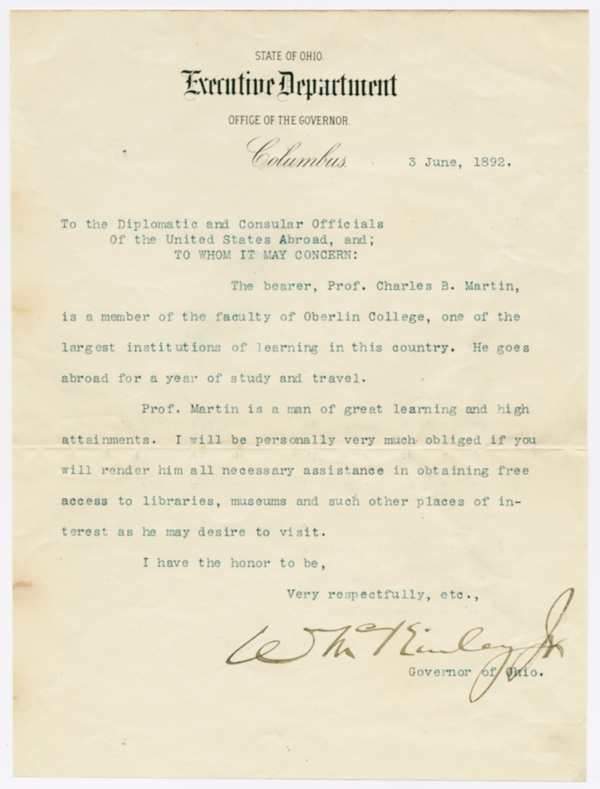 [TYPED LETTER OF INTRODUCTION FOR CHARLES B. MARTIN, SIGNED BY WILLIAM McKINLEY]. William McKinley.