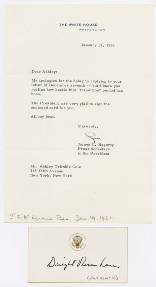 [CARD, AUTOGRAPHED BY DWIGHT D. EISENHOWER, WITH ACCOMPANYING LETTER FROM HIS SECRETARY]. Dwight D. Eisenhower.