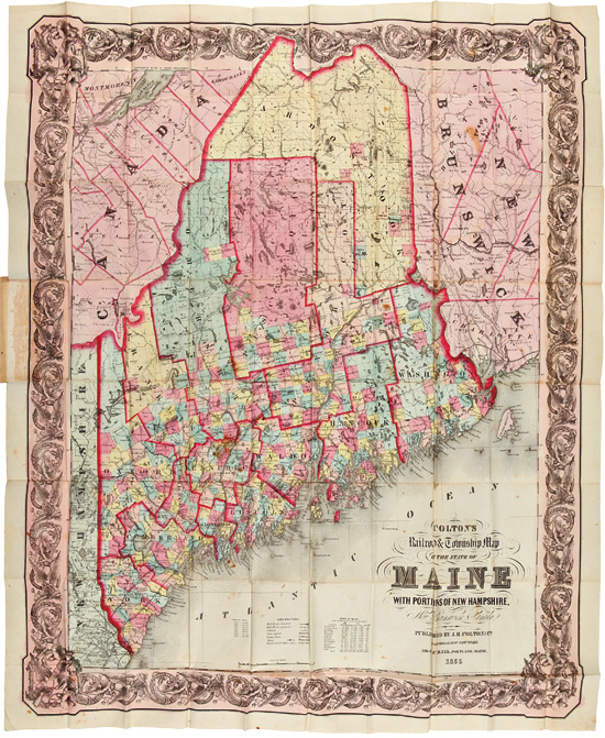COLTON'S RAILROAD & TOWNSHIP MAP OF THE STATE OF MAINE, WITH PORTIONS OF NEW HAMPSHIRE, NEW BRUNSWICK, & CANADA. J. H. Colton.