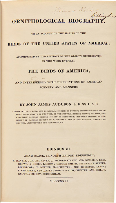 ORNITHOLOGICAL BIOGRAPHY, OR AN ACCOUNT OF THE HABITS OF THE BIRDS OF THE UNITED STATES OF AMERICA. John James Audubon.