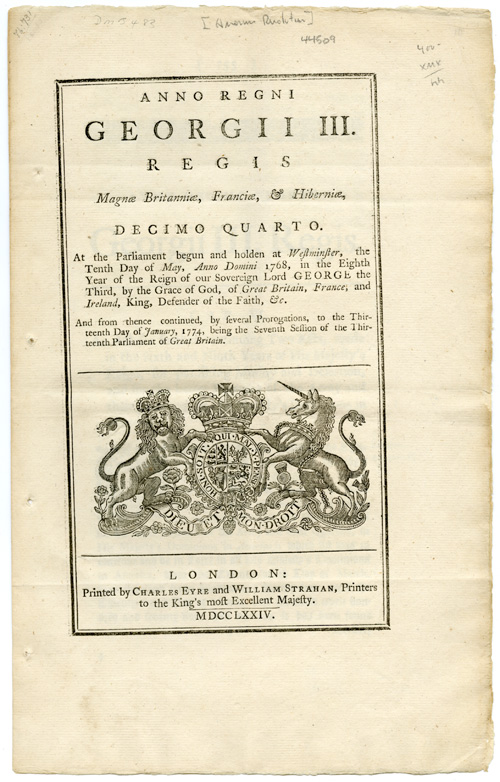 ANNO REGNI GEORGII III...AN ACT FOR FURTHER CONTINUING TWO ACTS, MADE IN THE SIXTH AND NINTH YEARS OF HIS MAJESTY'S REIGN, FOR PUNISHING MUTINY AND DESERTION, AND FOR THE BETTER PAYMENT OF THE ARMY AND THEIR QUARTERS, IN HIS MAJESTY'S DOMINIONS IN AMERICA. American Revolution.