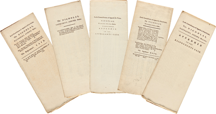 [FIVE LEGAL DOCUMENTS COMPRISING THE APPEAL CASE OF THE AMERICAN SHIP NICHOLAS, SEIZED IN 1776 BY THE BRITISH SLOOP OF WAR SAVAGE]. American Revolution, Privateering.