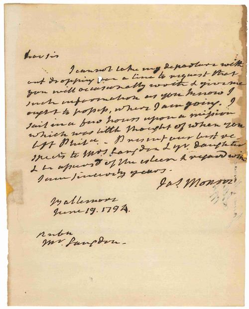 [AUTOGRAPH LETTER, SIGNED, FROM JAMES MONROE TO SENATOR JOHN LANGDON OF NEW HAMPSHIRE]. James Monroe.