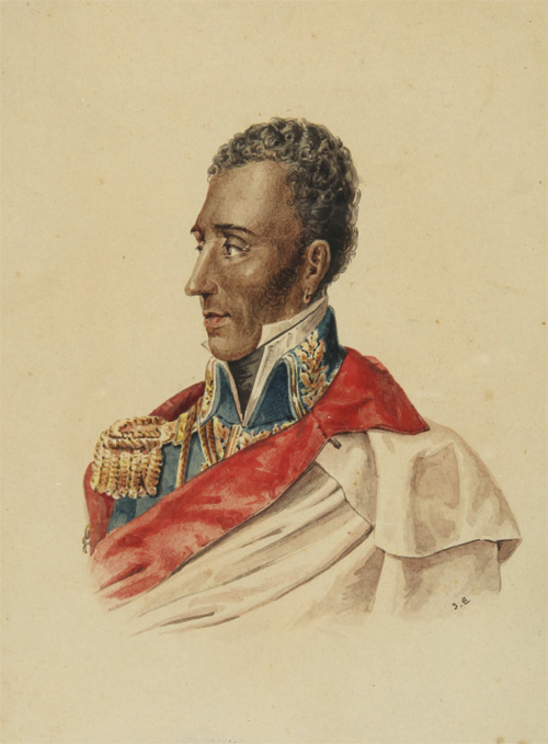 [WATERCOLOR OF GENERAL JEAN-PIERRE BOYER, PRESIDENT OF HAITI]. Haiti, Jean-Pierre Boyer.