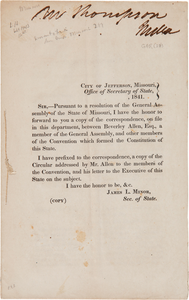 CORRESPONDENCE [ON FILE IN THE MISSOURI STATE DEPARTMENT, BETWEEN BEVERLY AND OTHER MEMBERS OF THE STATE CONSTITUTIONAL CONVENTION, RELATIVE TO THE MISSOURI-IOWA BOUNDARY]. Missouri.