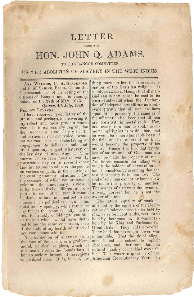 LETTER FROM THE HON. JOHN Q. ADAMS, TO THE BANGOR COMMITTEE, ON THE ABOLITION OF SLAVERY IN THE WEST INDIES. John Quincy Adams.