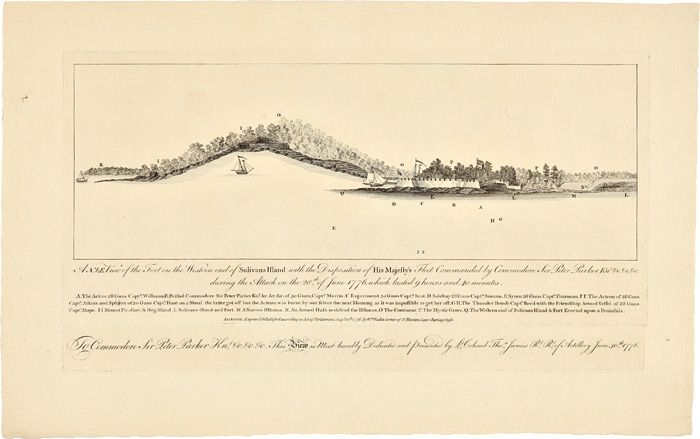 A N.b.E. VIEW OF THE FORT ON THE WESTERN END OF SULIVANS ISLAND WITH THE DISPOSITION OF HIS MAJESTY'S FLEET COMMODORE SIR PETER PARKER Knt. &c. &c. &c. DURING THE ATTACK ON THE 28th OF JUNE 1776. WHICH LASTED 9 HOURS AND 40 MINUTES. South Carolina Charleston.