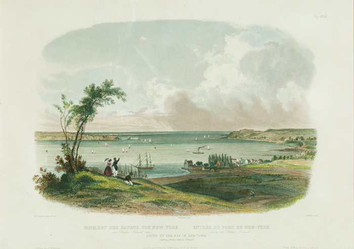 ENTRY TO THE BAY OF NEW-YORK TAKEN FROM STATEN ISLAND. Karl Bodmer.