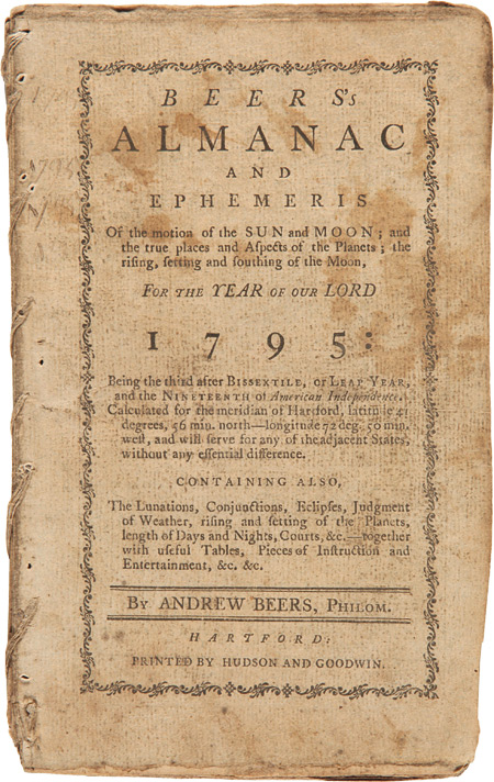 """""""Adventures of Col. Daniel Boon [sic], One of the Original Settlers at Kentucky; Containing the Wars with the Indians on the Ohio, from 1769, to the Year 1784...."""" [Contained in:] BEERS'S ALMANAC AND EPHEMERIS...FOR...1795. Daniel Boone, Andrew Beers, John Filson."""