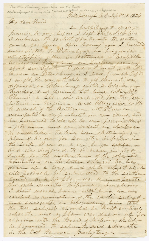 [AUTOGRAPH LETTER, SIGNED, FROM WILLIAM A. McDOWELL TO ALEXANDER W. MITCHELL, REGARDING PRESBYTERIAN MISSIONS IN THE SOUTHERN STATES]. Presbyterian Missions, William A. McDowell.
