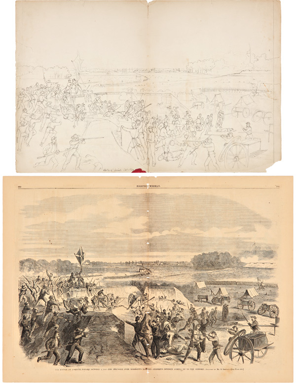 BATTLE OF CORINTH. OCT. 1862 [manuscript caption title]. Civil War, Alexander? Simplot.