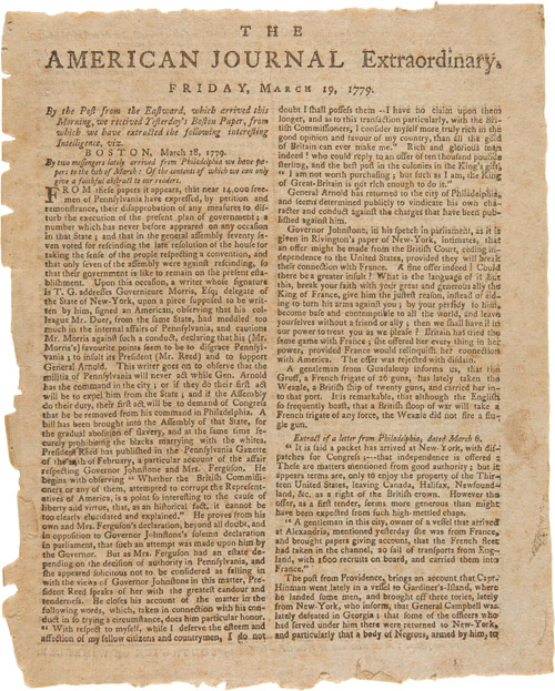 AMERICAN JOURNAL EXTRAORDINARY. FRIDAY, MARCH 19, 1779 [caption title]. American Revolution.