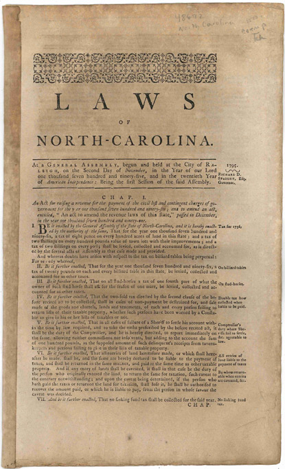 LAWS OF NORTH-CAROLINA. AT A GENERAL ASSEMBLY, BEGUN AND HELD AT THE CITY OF RALEIGH, ON THE SECOND DAY OF NOVEMBER IN THE YEAR OF OUR LORD ONE THOUSAND SEVEN HUNDRED AND NINETY-FIVE...[caption title]. North Carolina Laws.