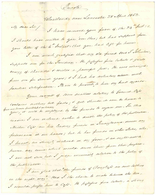 [AUTOGRAPH LETTER, SIGNED, FROM JAMES BUCHANAN TO MAYOR DAVID LYNCH, WITH CANDID OPINIONS FROM BUCHANAN ON DEMOCRATIC RIVALS LEWIS CASS AND STEPHEN A. DOUGLAS, AND EVENTUAL WHIG NOMINEE GEN. WINFIELD SCOTT]. James Buchanan.