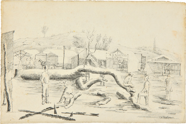 [ORIGINAL SIGNED PENCIL SKETCH, FROM LIFE, OF A SCENE IN A CALIFORNIA GOLD RUSH TOWN]. John David Borthwick.