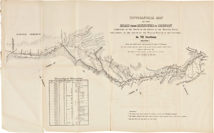 TOPOGRAPHICAL MAP OF THE ROAD FROM MISSOURI TO OREGON COMMENCING AT THE MOUTH OF THE KANSAS IN THE MISSOURI RIVER, ENDING AT THE MOUTH OF THE WALLAH WALLAH IN THE COLUMBIA. IN VII SECTIONS. Charles Preuss.