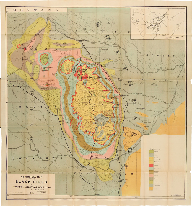 MAP OF THE BLACK HILLS OF SOUTH DAKOTA AND WYOMING WITH FULL DESCRIPTIONS OF MINERAL RESOURCES, etc. Samuel Scott.
