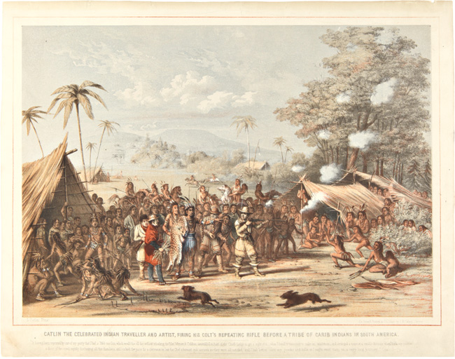 CATLIN THE CELEBRATED INDIAN TRAVELLER AND ARTIST, FIRING HIS COLT'S REPEATING RIFLE BEFORE A TRIBE OF CARIB INDIANS IN SOUTH AMERICA. George Catlin.
