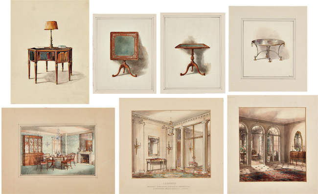 [SIGNIFICANT ARCHIVE OF FORTY-TWO ORIGINAL WATERCOLORS AND PENCIL DRAWINGS OF HOFSTATTER FURNITURE AND INTERIOR DESIGNS]. Theodore Hofstatter, Furniture, Interior Design.