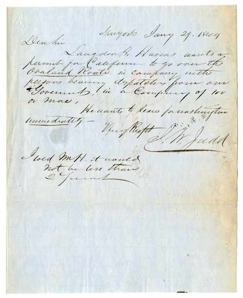 [AUTOGRAPH NOTE, SIGNED, BY J.W. JUDD, TO GUY R. PHELPS, REGARDING A LIFE INSURANCE POLICY FOR LANGDON H. HAVENS, A FORTY-NINER AND MEMBER OF JOHN WOODHOUSE AUDUBON'S ILL- FATED OVERLAND EXPEDITION TO CALIFORNIA IN 1849]. California Gold Rush, J. W. Judd, Langdon H. Havens.