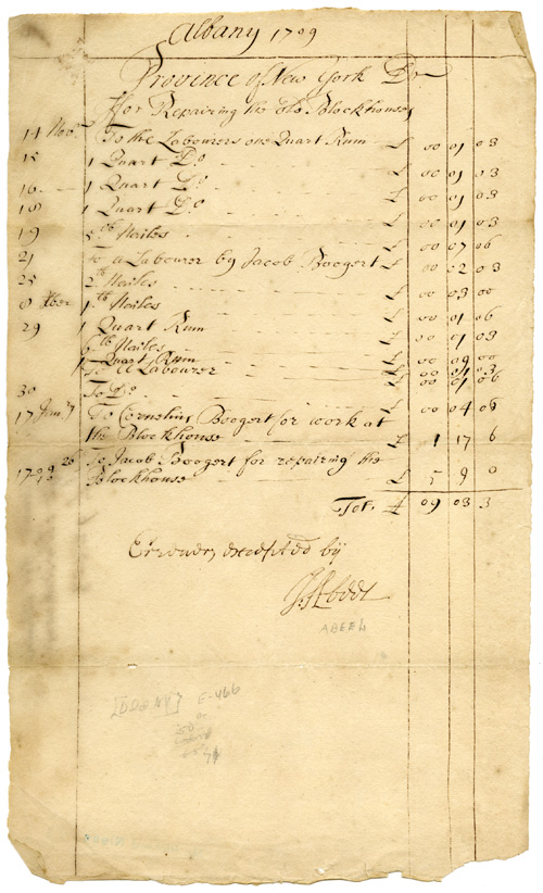 "[MANUSCRIPT DOCUMENT, SIGNED BY JOHANNES ABEEL, DETAILING EXPENSES FOR REPAIRS ON THE ""OLD BLOCKHOUSE""]. Johannes Abeel."