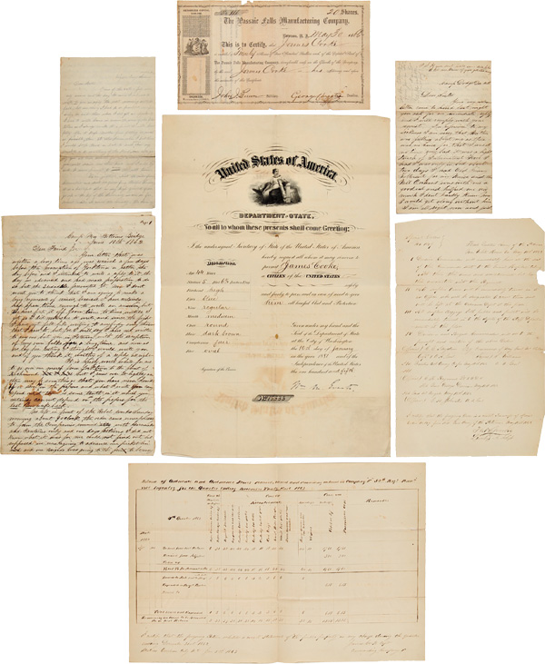 """[MANUSCRIPT ARCHIVE OF UNION CAPTAIN JAMES COOKE, COMPANY """"F,"""" 52nd PENNSYLVANIA INFANTRY, RELATING TO THE BATTLES OF WILLIAMSBURG AND SEVEN PINES]. Civil War, James Cooke."""