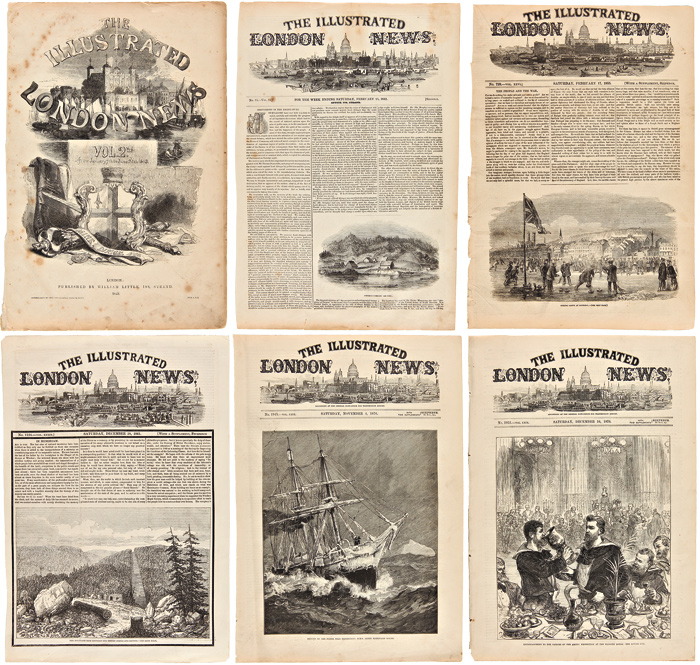 [COLLECTION OF ORIGINAL LEAVES OF The Illustrated London News REGARDING CANADA, ALASKA, AND GREENLAND, 1843 - 1877]. Canadiana.