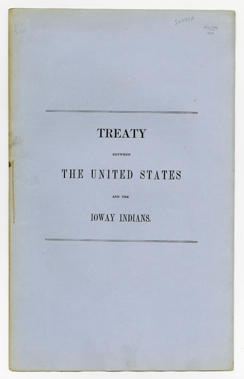 TREATY BETWEEN THE UNITED STATES AND THE IOWAY INDIANS. Iowa.