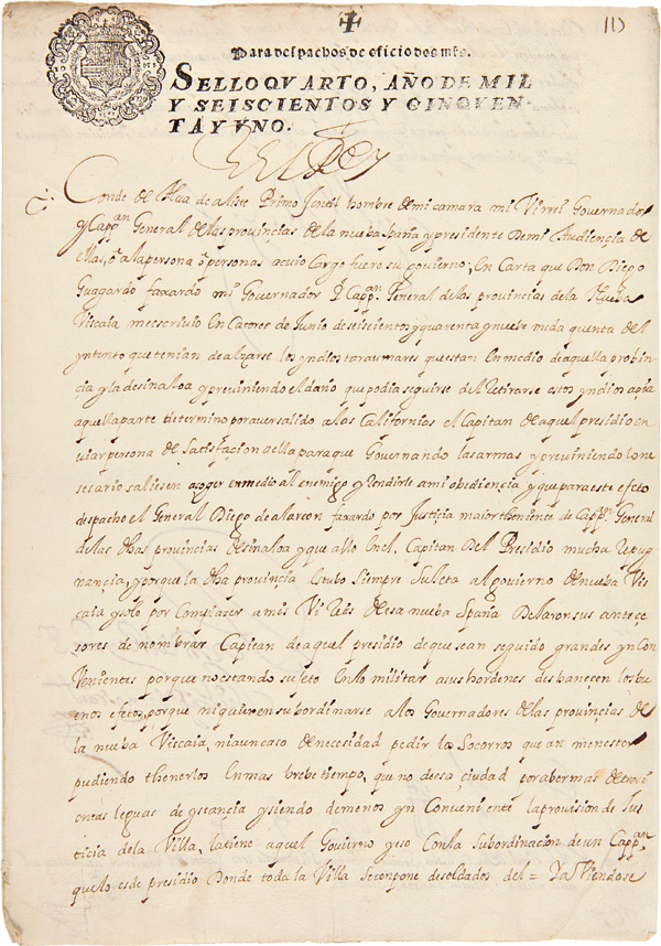 [AN EXCEPTIONAL LETTER, SIGNED, BY KING PHILIP IV TO THE VICEROY OF NEW SPAIN, WITH REFERENCE TO THE THREATENED REVOLT OF THE INDIANS OF SINALOA AND NUEVA VIZCAYA DURING THE COMMANDING OFFICER'S ABSENCE IN CALIFORNIA]. California, Philip IV of Spain.