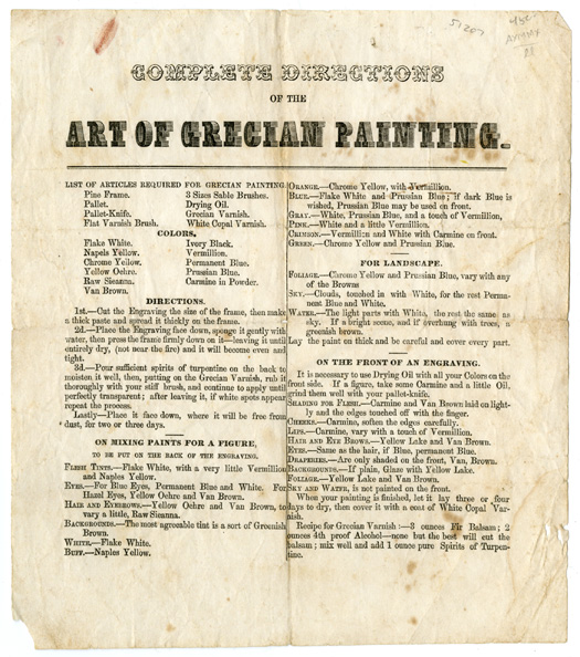 COMPLETE DIRECTIONS OF THE ART OF GRECIAN PAINTING. American Art.