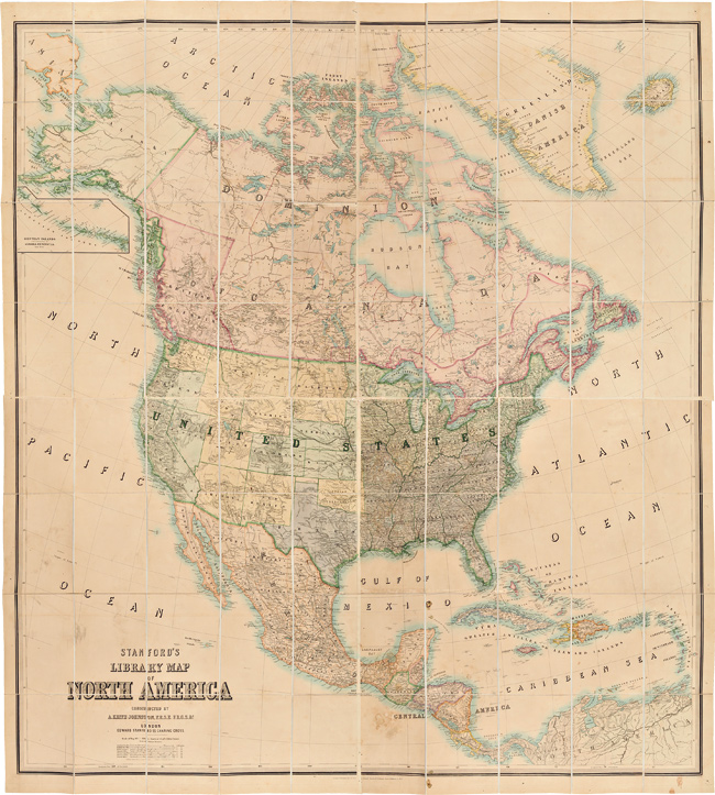 STANFORD'S LIBRARY MAP OF NORTH AMERICA. Alexander K. Johnston.