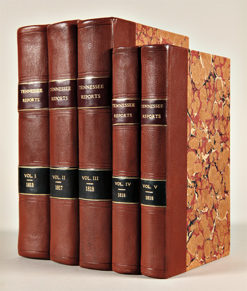 [FIVE VOLUMES OF REPORTS ON VARIOUS LAW CASES FROM 1794 TO 1817 IN THE STATE OF TENNESSEE]. Tennessee, John: Haywood Overton, John.