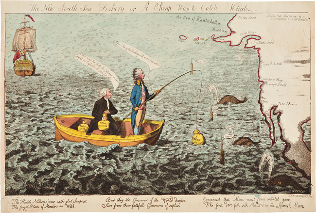 THE NEW SOUTH SEA FISHERY, OR A CHEAP WAY TO CATCH WHALES. Isaac Cruikshank.