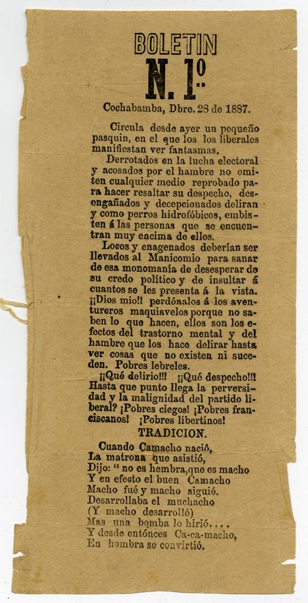BOLETIN N. 1º COCHABAMBA, DBRE. 28 DE 1887 [caption title]. Bolivia.