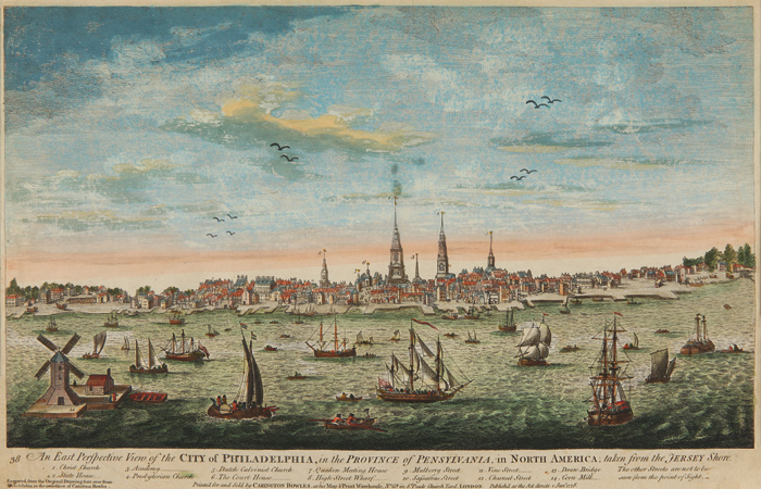 AN EAST PERSPECTIVE VIEW OF THE CITY OF PHILADELPHIA, IN THE PROVINCE OF PENSYLVANIA, IN NORTH AMERICA; TAKEN FROM THE JERSEY SHORE. Carington Bowles.