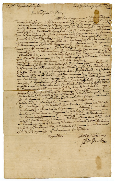 [AUTOGRAPH LETTER SIGNED, FROM CHRISTOPHER BANCKER TO MYNDERT SCHUYLER, MEMBERS OF TWO IMPORTANT NEW YORK COLONIAL FAMILIES]. Christopher Bancker.