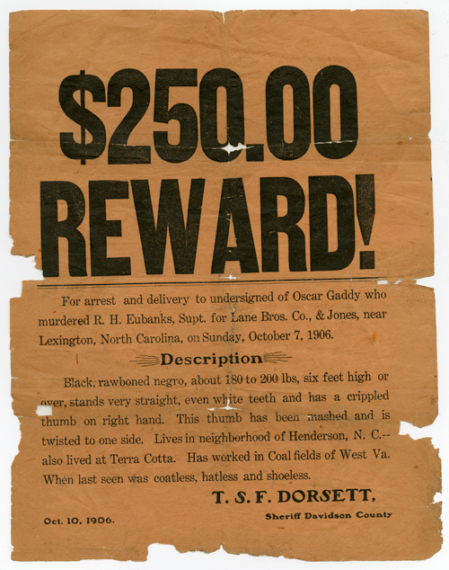 [EARLY 20th-CENTURY WANTED POSTER FOR A BLACK MAN ACCUSED OF MURDER]. North Carolina, African-American Fugitive.