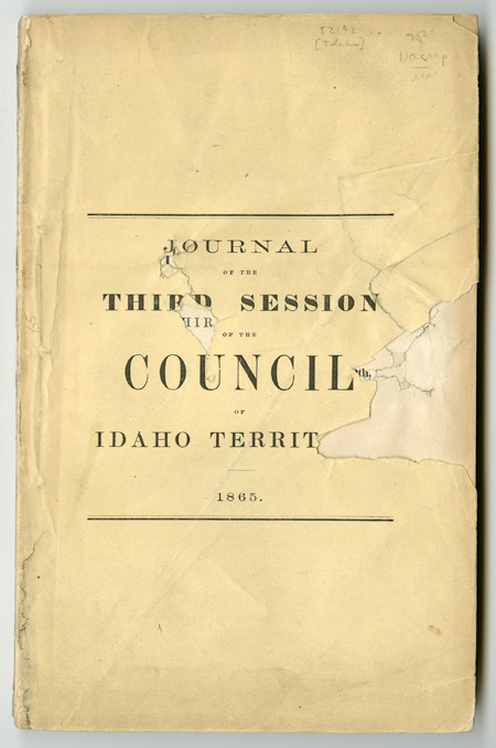 JOURNAL OF THE COUNCIL OF THE TERRITORY OF IDAHO. THIRD SESSION. CONVENED DECEMBER 4th, 1865, ADJOURNED, JANUARY 12th, [1866]. Idaho.