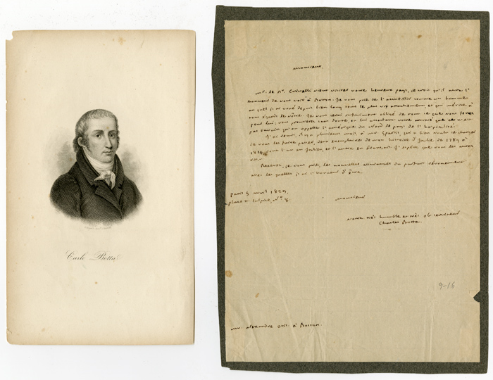 [AUTOGRAPH LETTER, SIGNED, IN FRENCH, FROM CHARLES BOTTA TO HIS TRANSLATOR, BOSTON ATTORNEY GEORGE ALEXANDER OTIS, EFFECTIVELY A LETTER OF INTRODUCTION FOR A FRIEND OF BOTTA'S WHO WILL BE VISITING AMERICA]. Charles Botta.