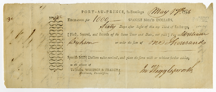 [PARTIALLY-PRINTED BILL OF EXCHANGE FOR SUPPLIES, SIGNED BY JOHN WIGGLESWORTH, AGENT TO THE COMMANDER OF THE 1796 BRITISH OCCUPATION FORCE IN HAITI]. Haiti, John Wigglesworth.