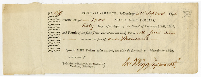partially printed bill of exchange for supplies signed by john