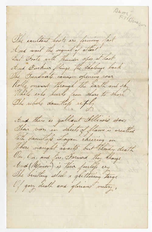 [MANUSCRIPT ODE TO UNION VICTORY AT FORT DONELSON]. Battle of Fort Donelson.
