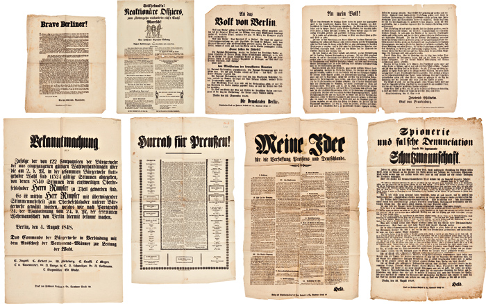 [GROUP OF NINE POLITICAL BROADSIDES RELATING TO THE 1848 REVOLUTIONS IN GERMANY]. German Revolution of 1848.