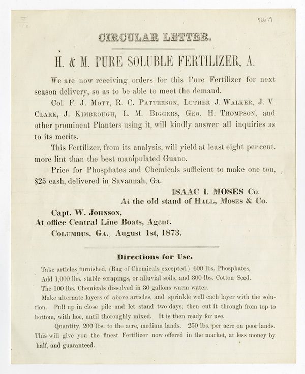 CIRCULAR LETTER. H. & M. PURE SOLUBLE FERTILIZER, A. WE ARE NOW RECEIVING ORDERS FOR...[caption title and first line of text]. Isaac I. Moses.