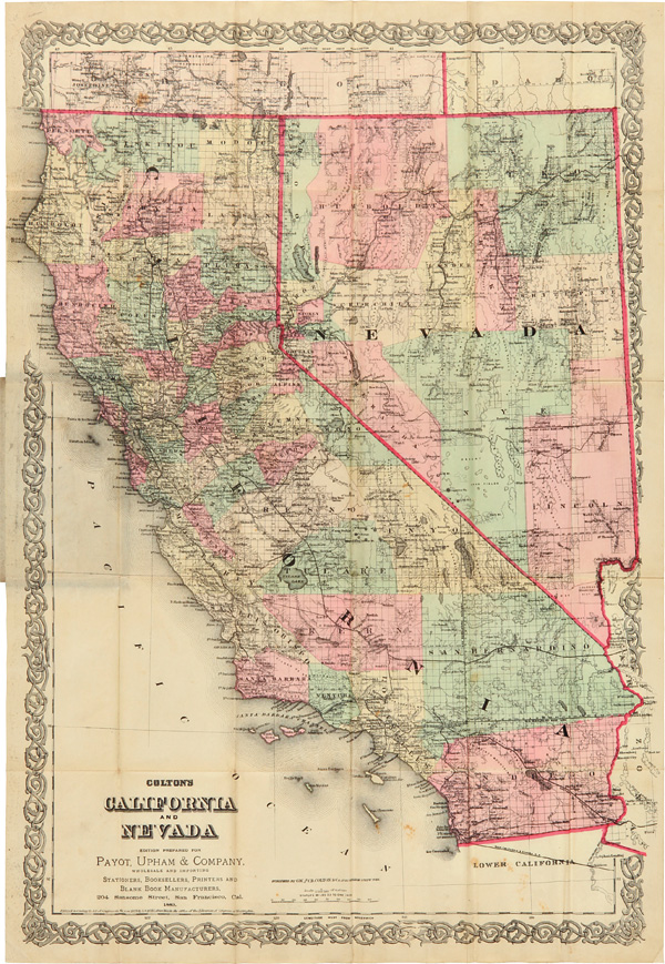 COLTON'S CALIFORNIA AND NEVADA. G. W. Colton, C B.